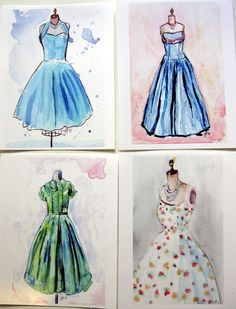Vintage Dress Postcards Watercolor Art Postcards Ed.2 by jojolarue, $14.00