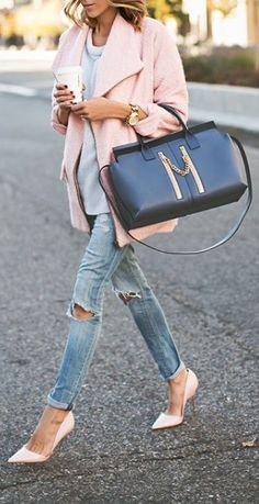 cozy cardi and heels