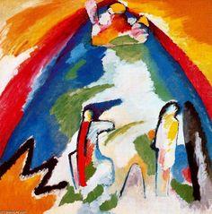 Monte,año 1909.El motivo principal, el monte de color azul, cubre casi toda la superficie del cuadro.Arriba,un castillo.El jinete encima de la silueta y una figura que como un guardián deja pasar o no al caballero.