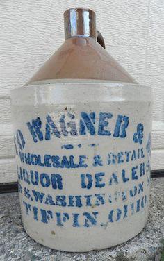Vintage Old Antique Salt Glaze Crock Is From The Macomb