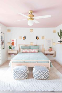 How To Paint an Accent Wall + Guest Bedroom Makeover - Sugar & Cloth - - You gotta love a welcoming room for guests and this guest bedroom makeover will do the trick since I'm sharing how to paint an accent wall, too! Pastel Bedroom, Bedroom Colors, Home Decor Bedroom, Bedroom Wall, Girls Bedroom, Bedroom Ideas, Girl Bedroom Designs, Decor Room, Bedrooms
