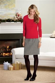 Silk-blend Scoopneck & Wool-blend Skirt | Chadwicks  red with black and white herringbone skirt