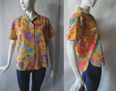 326f4ce277f491 Vintage Liz Claiborne · Gorgeous Malaysian floral print button front by  afterglowvintage, $14.00 Golden Brown, Vintage Shops,