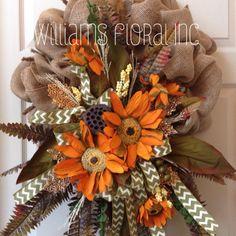 Fall Wreath, Mesh Wreath, Owl, Autumn by WilliamsFloral on Etsy