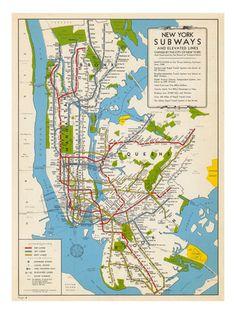 1949, New York Subway Map, New York, United States Impressão giclée na AllPosters.com.br Hobbs, New York Subway, Nyc Subway, Mexico, Subway Map, Merit Badge, City Maps, City That Never Sleeps, I Love Ny