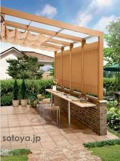 Pergola For Small Backyard Referral: 2518051383 Pergola Kits, Pergola With Roof, Diy Backyard Landscaping, Pergola Shade Cover, Garage Pergola, Roof Design, Outdoor Living, House With Porch, Natural Fall Decor
