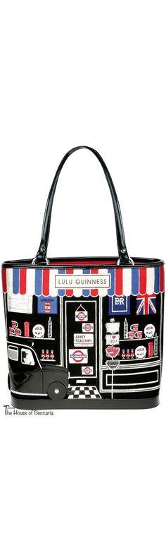 "~ Award Winning British Fashion Accessory Designer Lulu Guiness ""London Souvenir Shop"" Medium Tote Handbag   The House of Beccaria"