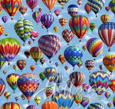 Hoffman Row by Row 2017 Digital Print P4343-16 Blue Sky Hot Air Balloons American Byways