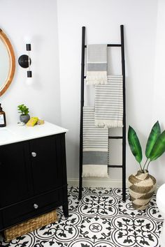 Transitional Black and White Bathroom Reveal Modern Black and White Bathroom.
