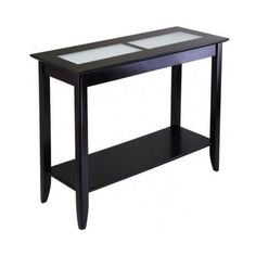 Entry Hall Foyer Wood Console Table Furniture W/ Frosted Glass Top And Shelf #Contemporary