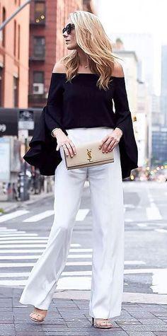 black and white ootd top + pants + bag