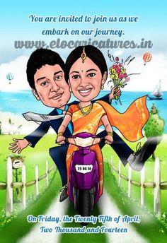 Groom and bride funny cartoon Indian Wedding Couple, Indian Wedding Cards, Indian Wedding Invitations, Indian Wedding Planning, Wedding Invitation Wording, Wedding Couples, Invites, Anniversary Invitations, Invitation Ideas