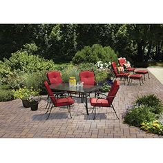 Adjustable seats and RED TOO Mainstays Woodacre 10-Piece Patio Dining Set & Leisure Set Value Bundle, Red