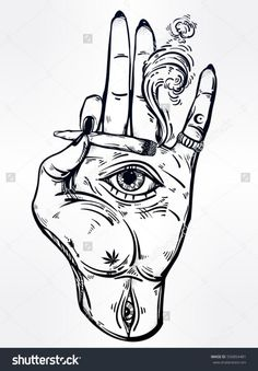 Human hand holding a weed joint or spliff or a cigarette with an all seeing eye. Drug consumption, marijuana use clip art. Tattoo Sketches, Tattoo Drawings, Cool Drawings, Skull Tattoos, Sleeve Tattoos, Stoner Art, Weed Art, Tattoo Illustration, Desenho Tattoo