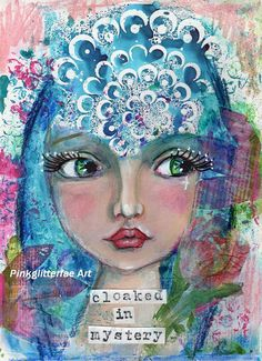 Whimsical Girl Mixed media Fantasy Children's Art Wall art Colorful Print