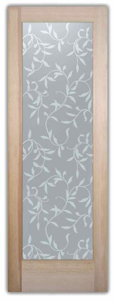 Vines Private Glass Door - Custom Frosted Glass Door by Sans Soucie Art Glass. Frosted Glass Internal Doors, Frosted Glass Door, Etched Glass Door, Exterior Doors With Glass, Glass Doors, Sliding Glass Door, Wooden Glass Door, Glass Front Door, Frosted Glass Design