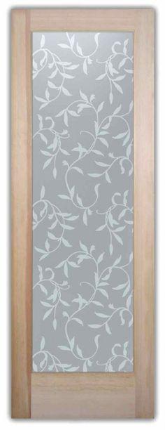 Vines Private Glass Door - Custom Frosted Glass Door by Sans Soucie Art Glass.