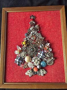 Vintage-Jewelry-Art-Framed-CHRISTMAS-TREE-VINTAGE-JEWLEY-ART-DESIGN