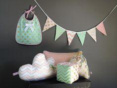 Ensemble, Baby Box Confettis, pois et chevrons, rose et vert menthe