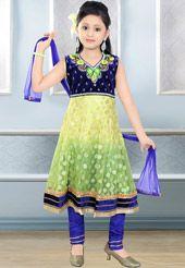 Yellow and Green Net Readymade Anarkali Churidar Kameez