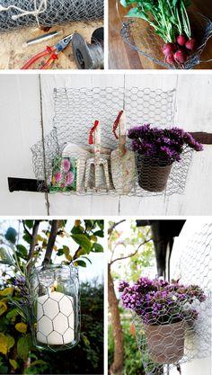 Utensilo, Windlicht und Korb aus Draht ganz leicht selbst zu basteln, eine tolle Dekoration für den Garten