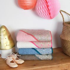 Gorgeous Lberty hooded baby bath towels handmade in France by Barnabé aime le café