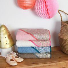 Gorgeous Lberty hooded baby bath towels handmade in France by Barnabé aime le café