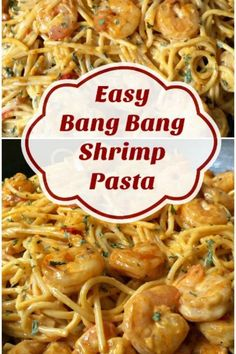 The shrimp is sauteed with garlic, red pepper flakes, and other spices then gently tossed with spaghetti noodles and a spicy sauce. The Bang Bang Sauce is a creamy concoction of mayonnaise, sweet chili sauce, and sriracha sauce. It's spicy yet not too hot, of course you can bump up the heat by adding more sriracha. This meal comes together in the time it takes to cook the pasta. Healthy Recipes, Fish Recipes, Seafood Recipes, Low Carb Recipes, Beef Recipes, Cooking Recipes, Salad Recipes, Shrimp Spaghetti, Garlic Shrimp Pasta