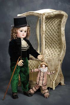 "31"" (79 cm.) Grand French Bisque Bebe by Rabery and Delphieu in Antique Gentleman's Costume"