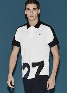 Show your love for the beautiful sport with the 27 design, lively piping and color block spirit of this Lacoste Sport polo. Polo Shirt Design, Polo Design, Lacoste Sport, Tie Dye Shirts, Polo T Shirts, Sport T Shirt, Mens Tees, Hooded Sweatshirts, Sportswear