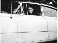 Elvis Presley 1955 Cadillac - When Elvis first bought the famous pink '55 Cadillac, it was white with a black painted roof – as seen here. Elvis first had the body custom painted pink, then later had the roof painted white to match the previous '54.