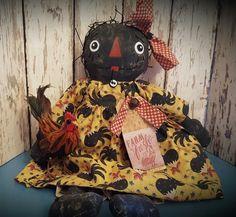 Primitive Little  Black Raggedy Ann Doll w/ Rooster  ~*Annie*~
