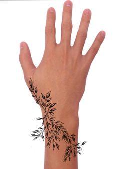 Cute Hand Tattoos, Wrist Tattoos, Finger Tattoos, Body Art Tattoos, Small Tattoos, Floral Arm Tattoo, Branch Tattoo, Tattoo Bracelet, Matching Tattoos