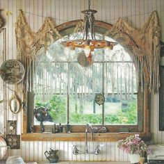"Kitchen Space- I love the curtains over the arched window; you don't loose the arch behind the curtains. Amazing! ""Bohemian Home Decor"" Free People Blog"