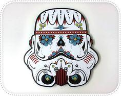 White Stormtrooper Sugar Skull  Wall Clock by ObjectIndustrialArt, $35.50