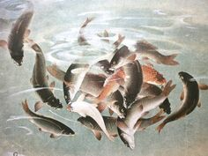 Vintage Japanese Print Fish Feeding Frenzy Art by VintageFromJapan, $6.50