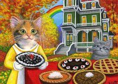 Calico Cat Kitten Autumn Fall House Pie Sale Rainbow Original Aceo Painting Art Realism Bridget Voth Artist Ebay Id St Kitten Art Cats And Kittens Cat Art