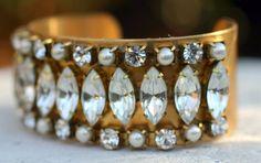 Vintage cuff, rhinestones and pearls...http://www.idazz.com/