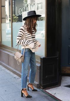 jeans, striped sweater + those heels