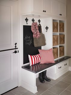 Formica®Laminate 6280 Midnight Stone with a postform edge as a mudroom bench