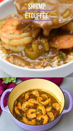 Easy Shrimp Étouffée is the best classic Cajun or Creole recipe prepared with seafood a thick roux sauce green peppers yellow onion and celery the Holy Trinity of vegetables. Shrimp Recipes For Dinner, Shrimp Recipes Easy, Seafood Dinner, Cajun Recipes, Healthy Food Recipes, Seafood Gumbo, Shrimp Ettouffe Recipe, Frozen Seafood Mix Recipes, Ethnic Food Recipes