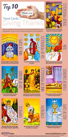 Divination: #Tarot Top 10 Giving Thanks Cards. Sometimes, we're so busy, we forget to pause, take a moment, and give thanks for all the wonderful things we have. These cards are a good indication that it's time to celebrate the abundance in our lives.