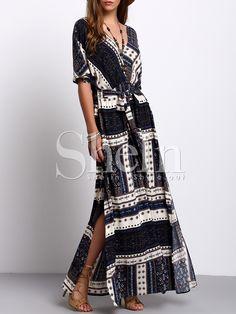 Robe+longue+fendue+sur+le+côté+imprimé+vintage+-bleu+marine+27.80