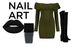 """green nail art"" by montserrat-gulp ❤ liked on Polyvore featuring beauty, Boohoo, Aquazzura and Witchery"