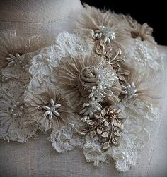 AMELIE Wearable Art Bridal Lace Collar Statement door carlafoxdesign