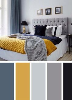 Blue and Yellow Master Bedroom. Blue and Yellow Master Bedroom. Gray and Yellow Bedroom Ideas Yellow and Grey Bedding Mustard And Grey Bedroom, Mustard Living Rooms, Black And Grey Bedroom, Grey And Yellow Living Room, Gray Yellow, Dark Blue, Yellow Master Bedroom, Mustard Yellow Bedrooms, Narrow Bedroom