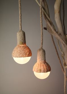 Stephanie Ng Design - LunaLana : Handmade from 100% treated merino wool to create intricate woven lighting designs that wrap and intertwine. Wool is a sustainable resource. Buying wool supports raising sheep in Australia for their fleece. Every year, new fleece grows on the sheep's back and may be removed without harm to the animal.