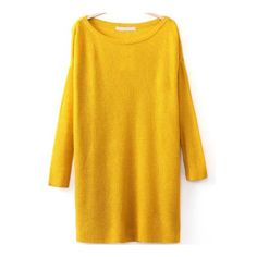 SheIn(sheinside) Round Neck Split Yellow Sweater (€17) ❤ liked on Polyvore featuring tops, sweaters, dresses, sheinside, yellow, loose long sleeve tops, sweater pullover, loose pullover sweater, loose sweater and round neck top