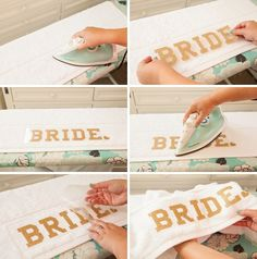 DIY, Iron-on Glitter Personalized Beach Towels for you Bachelorette Party!