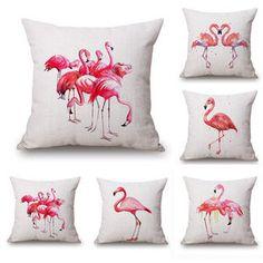 45X45cm Flamingo Animal Print Cotton Linen Throw Pillow Case Sofa Waist Cushion Cover Home Decor